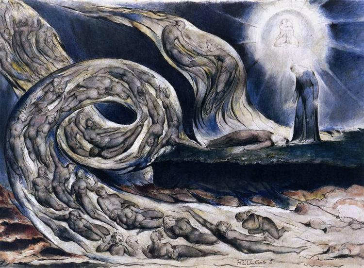 """Уильям Блейк, """"Вихрь любовников"""" (иллюстрация к """"Божественной комедии"""" Данте), 1827.  Журнал """"Формаслов"""""""