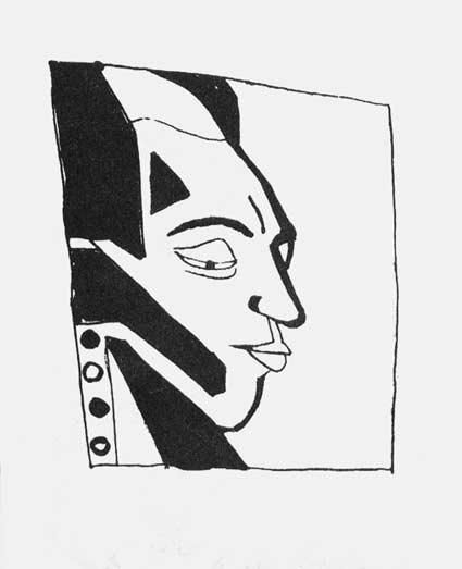 Владимир Бурлюк. Портрет Велимира Хлебникова, 1913 //