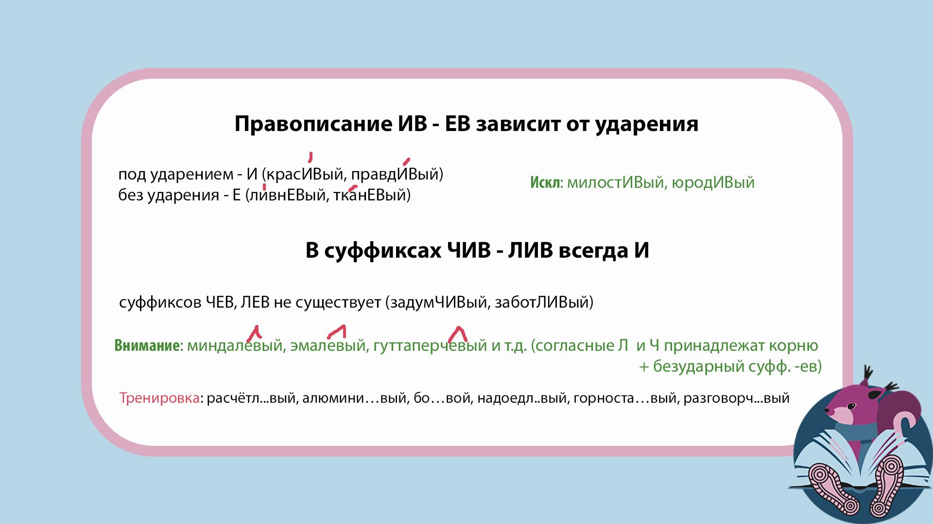 Правописание суффиксов чив лив ев ив ЕГЭ русский язык задание 11