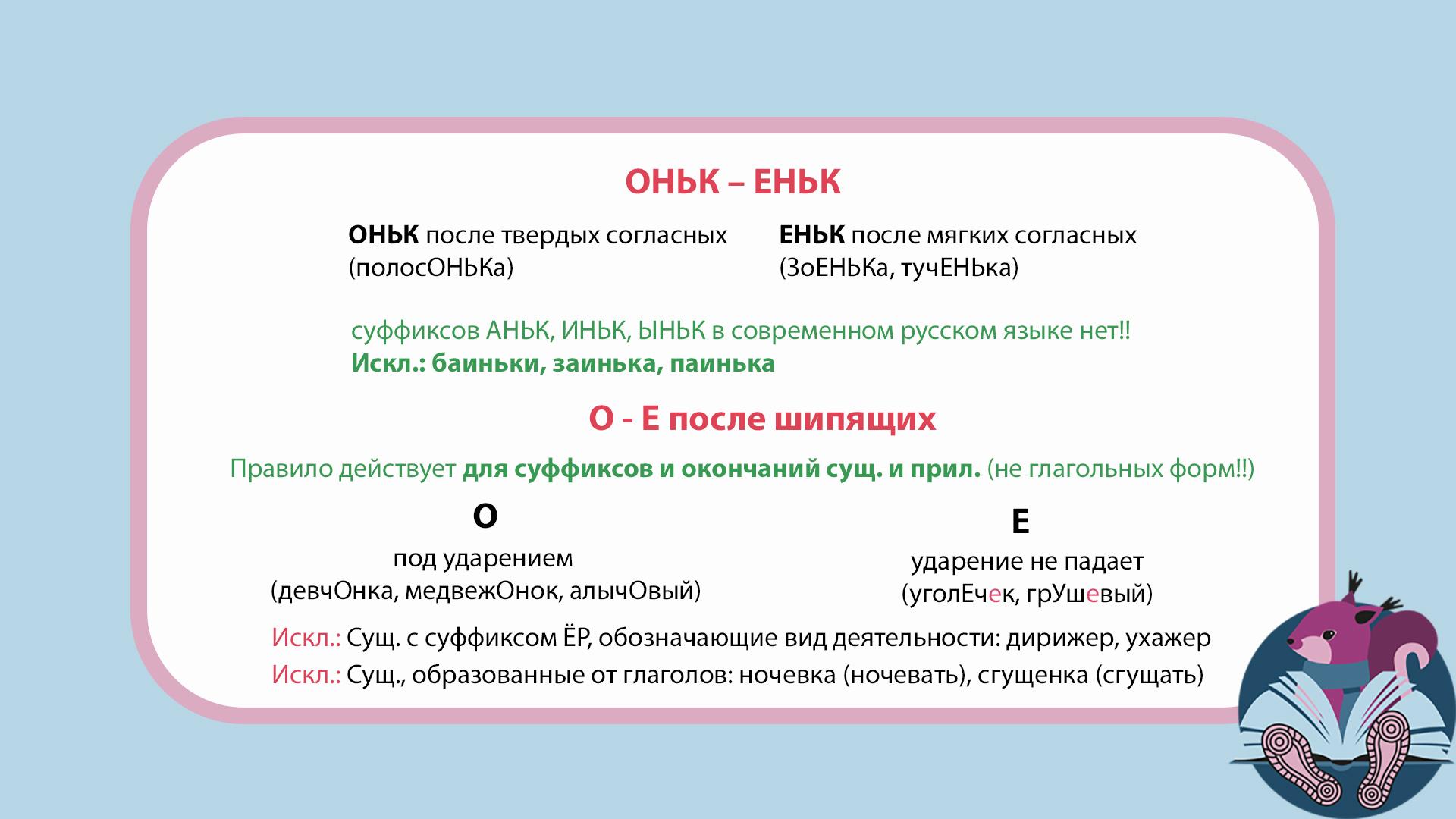 ЕГЭ: русский язык. Правописание суффиксов ОНЬК – ЕНЬК. О-Е после шипящих