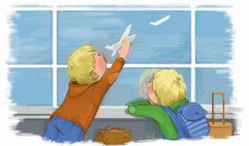 Мадс и Митя летят на самолёте. Иллюстрация к рассказу Ольги Стец